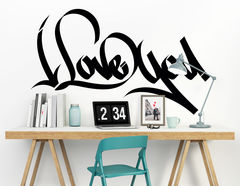 """Wandtattoo """"Lovely Graffiti"""" als Zeichen der Liebe"""