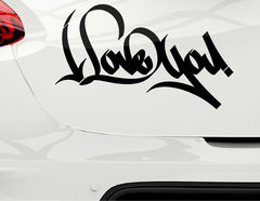 "Autoaufkleber ""Lovely Graffiti"": I love you - ich liebe dich"