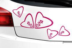 """Autoaufkleber """"Schmetterlinge im Bauch"""" mit 5 süße Herzen"""