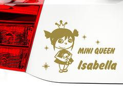 """Autoaufkleber """"Mini Queen"""" mit Wunschname für Königinnen"""