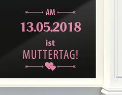 Schaufenster-Aufkleber: Muttertag mit Wunschdatum