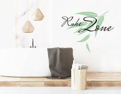 """Wandtattoo """"Ruhe Zone"""" mit Eukalyptus-Zweig im Asia-Stil"""