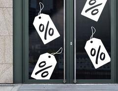 Prozente Sale Aufkleber für Gewerbe & Schaufenster
