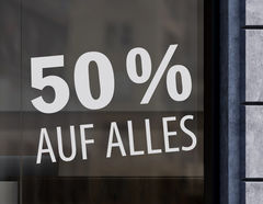 """Aufkleber """"AUF ALLES"""" mit Wunschtext für Schlussverkauf"""