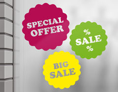 3-teilige Schaufensterbeschriftung Big Sale & Special Offer
