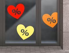 Aufkleber Prozente Herzen