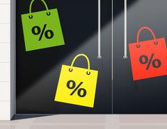 Aufkleber Prozente Shopping Bags