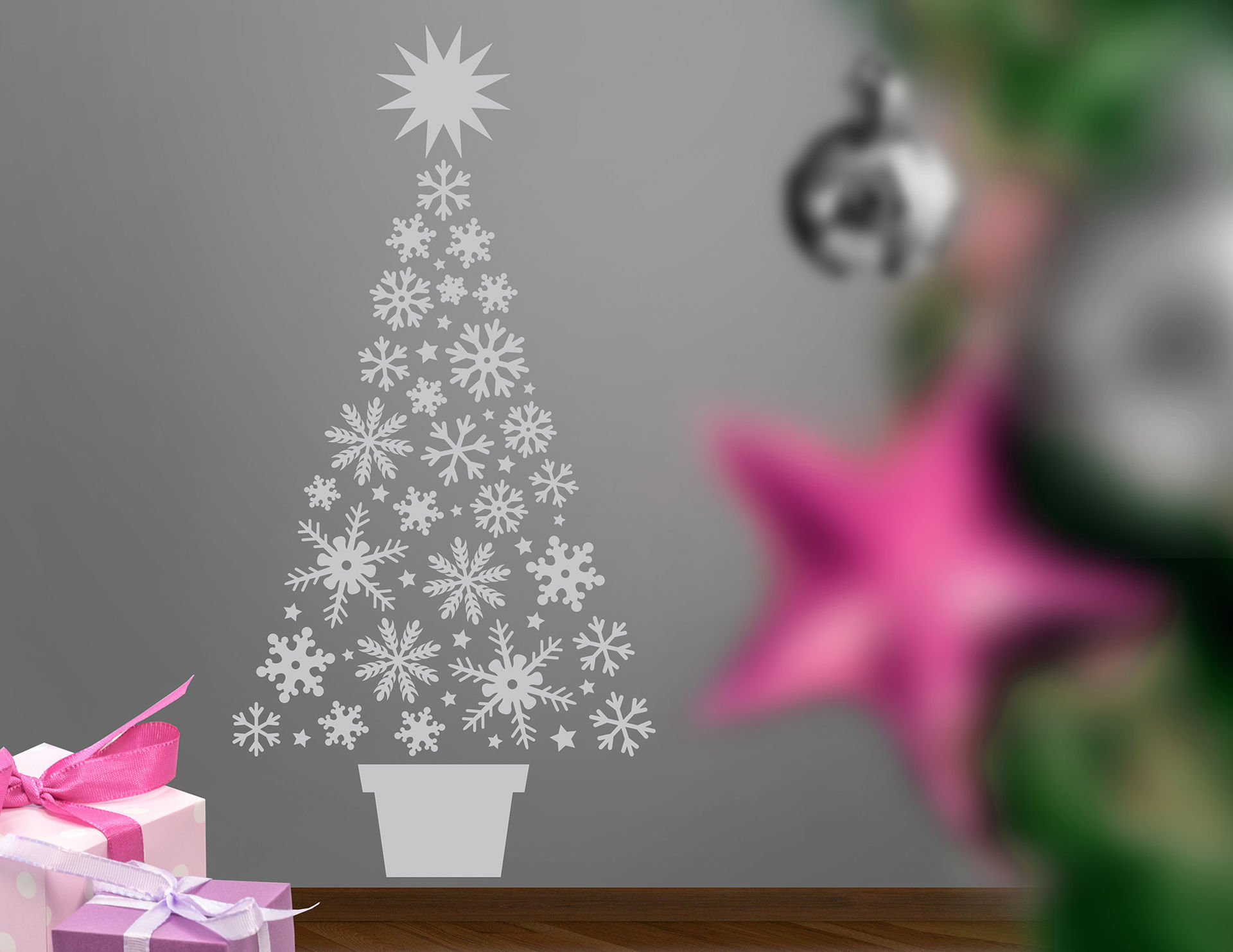 Wandtattoo Snowflake Xmas Tree