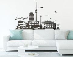 """Wandtattoo """"Stuttgarter Skyline"""" zeigt Highlights"""