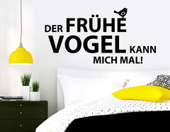 """Wandtattoo """"Der frühe Vogel"""" für Langschläfer"""