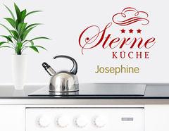Drei Sterne Küche - Wandtattoo+Wunschname für Feinschmecker
