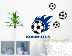 Fußballfan - Wandtattoo mit Wunschname für Kinder