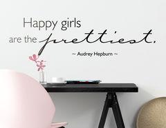 """Wandtattoo """"Happy Girls"""" mit Zitat von Audrey Hepburn"""