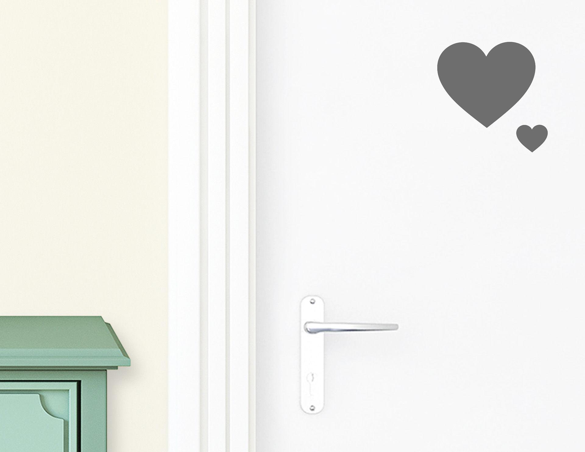 Herzchen - Aufkleber für die Tür in Bad & Gästetoilette