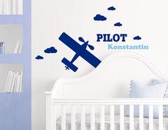 Himmelsstürmer - Wandtattoo mit Wunschname und Flugzeug