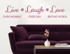 """Wandtattoo """"Live, Laugh, Love"""" für bleibende Freude"""