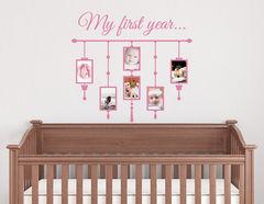 Wandtattoo My first year - 6 Bilderrahmen für süße Babyfotos