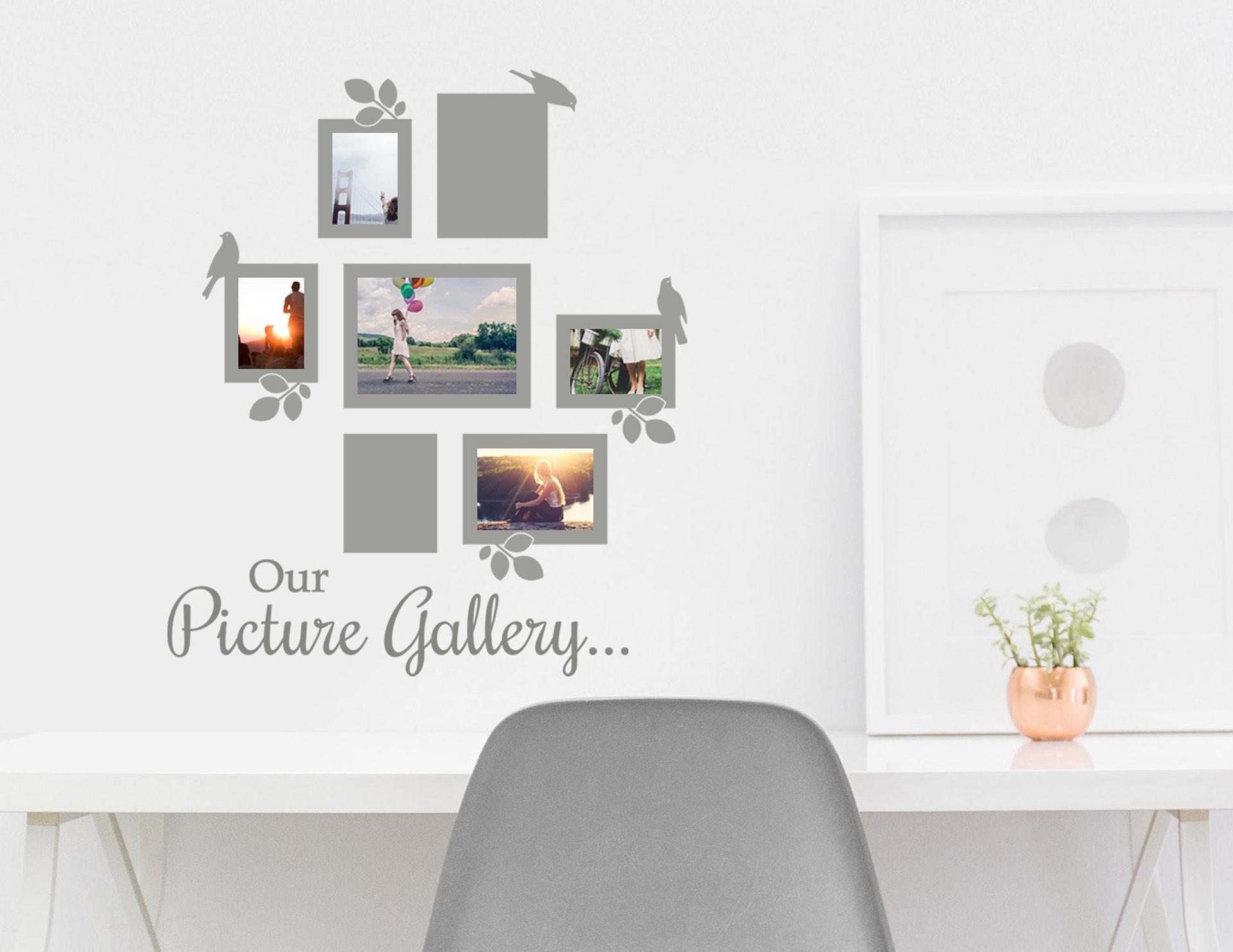Wandtattoo Our Picture Gallery mit 7 schönen Fotorahmen
