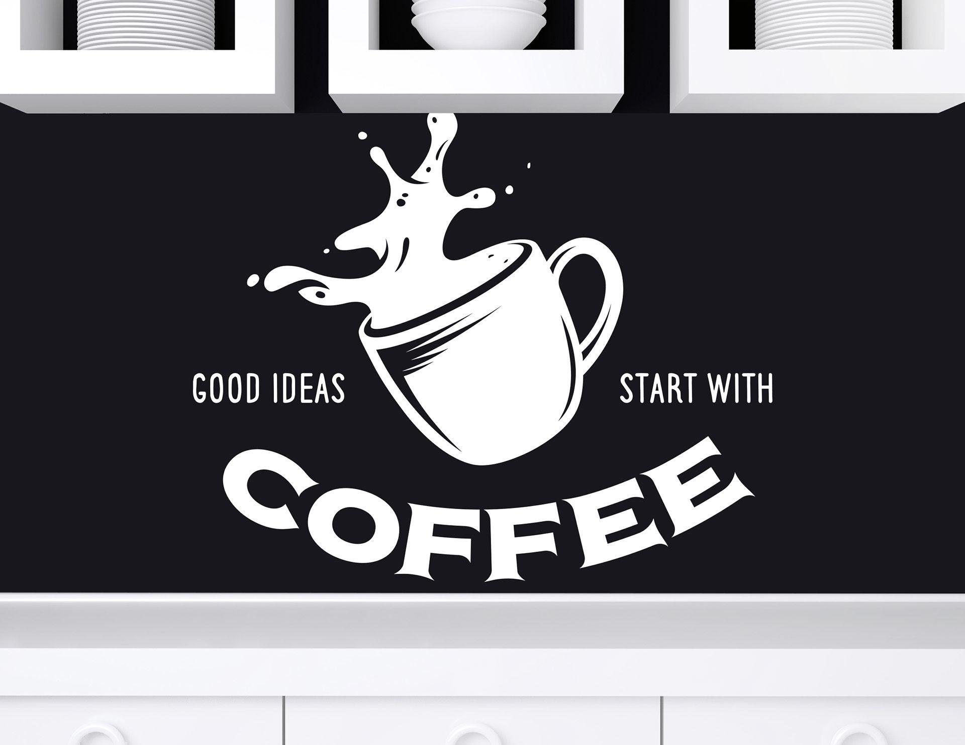 """Wandtattoo """"Start with Coffee"""" schafft Ideen"""