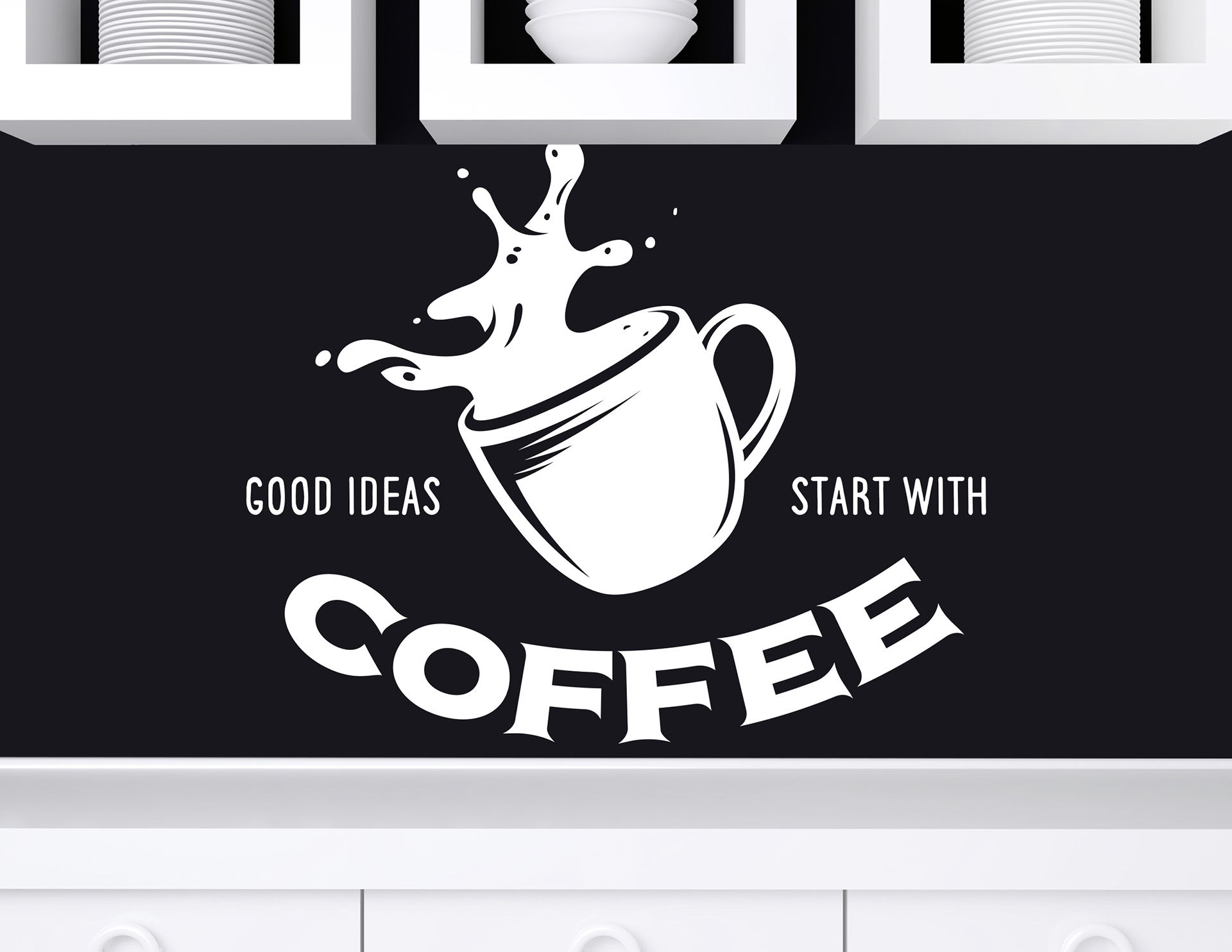"Wandtattoo ""Start with Coffee"" schafft Ideen"