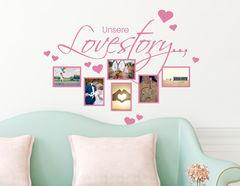 Wandtattoo Unsere Lovestory - mit 6 Bilderrahmen für Fotos