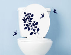Vogelwiese - WC-Aufkleber für Bad und Gästetoilette