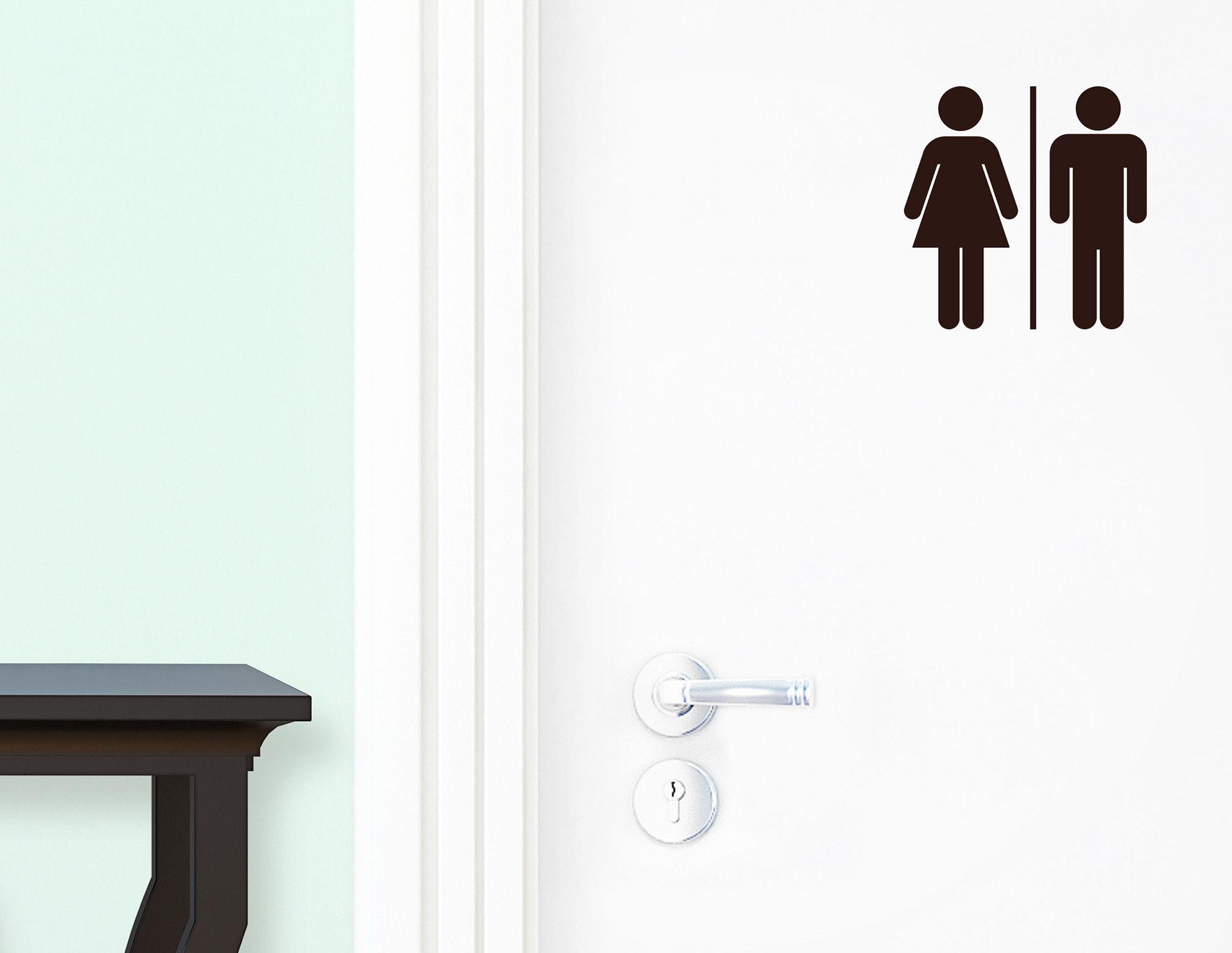 WC Mann & Frau - Aufkleber für die Tür in Bad & Toilette