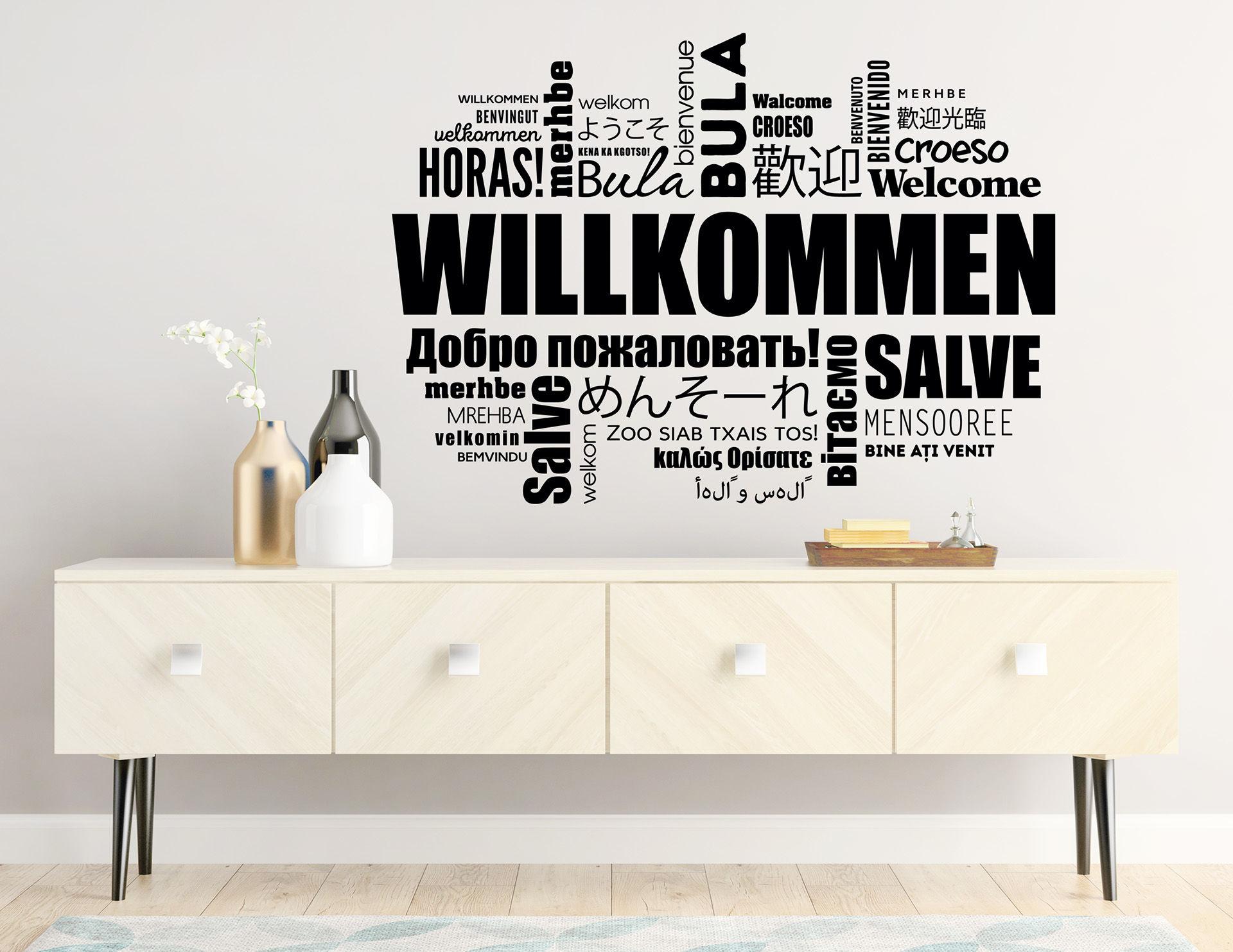 """Wandtattoo """"Wortwolke Willkommen"""" zeigt Toleranz"""
