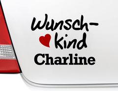 """Autoaufkleber """"Wunschkind"""" mit viel Herz und Wunschnamen"""