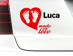 """Autoaufkleber """"Love Made"""": Mit Liebe gemacht!"""