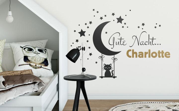 Wandtattoo + Wunschname für das Kinderzimmer - ganz individuell und persönlich