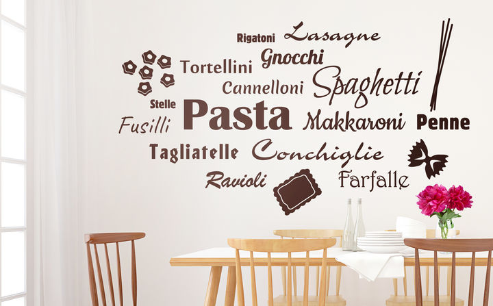 Unsere Wandtattoos mit tollen Rezepten & Zutaten sorgen für jede Menge Inspiration in der Küche! So beweist Du allzeit guten Geschmack!