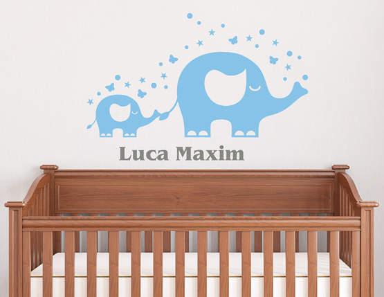 Elefanten Parade - Wandtattoo mit Wunschname für Kinder