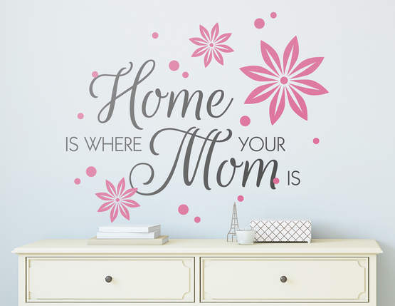 Bezauberndes Wandtattoo: Home is where your mom is