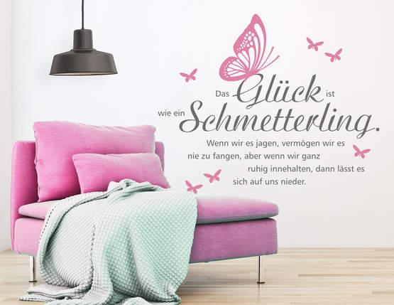Wandtattoo Schmetterling Glück mit schönem Zitat.