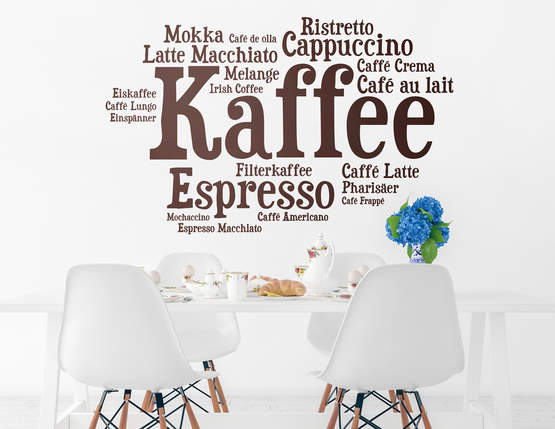 """Wandtattoo """"Wortwolke Kaffee"""" für Kaffeeliebhaber"""